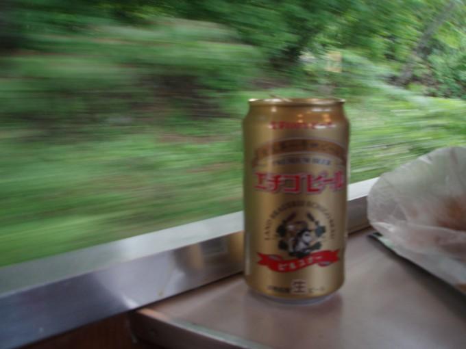 ばんえつ物語号車内でエチゴビール