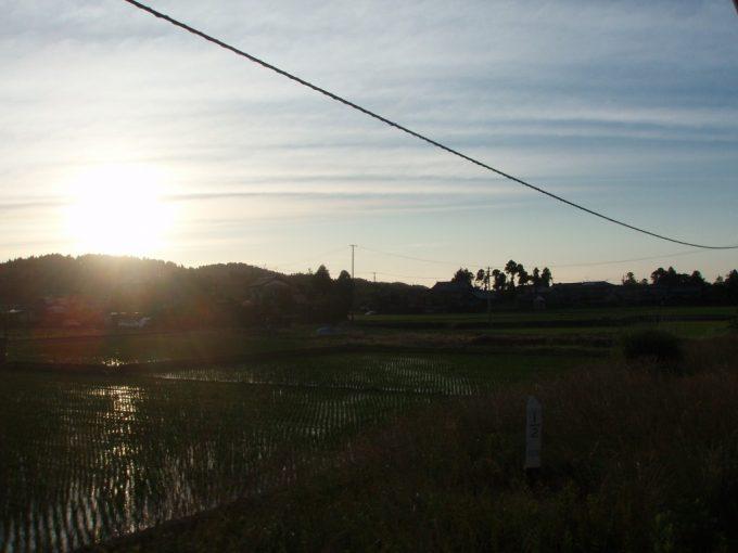 夕日と田んぼ