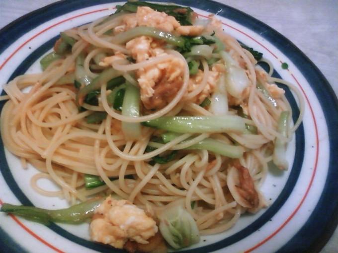 ツナと青梗菜の中華風スパゲティー