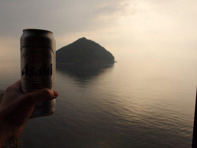 浅虫温泉海と湯の島とビール