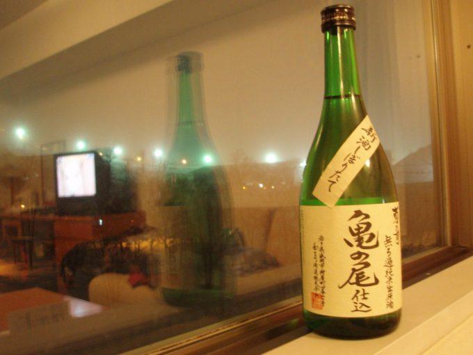 夜の安比ゲレンデを見ながらの菊の司無濾過純米生原酒亀の尾仕込み