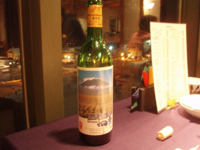 夕食に余市ワイン