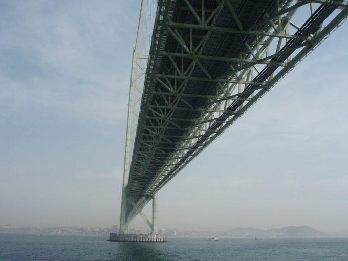 船上から眺める明石海峡大橋の裏側