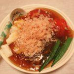 トマトとオクラのひんやりべっこう餡仕立て・棒々豚・長芋の味噌煮