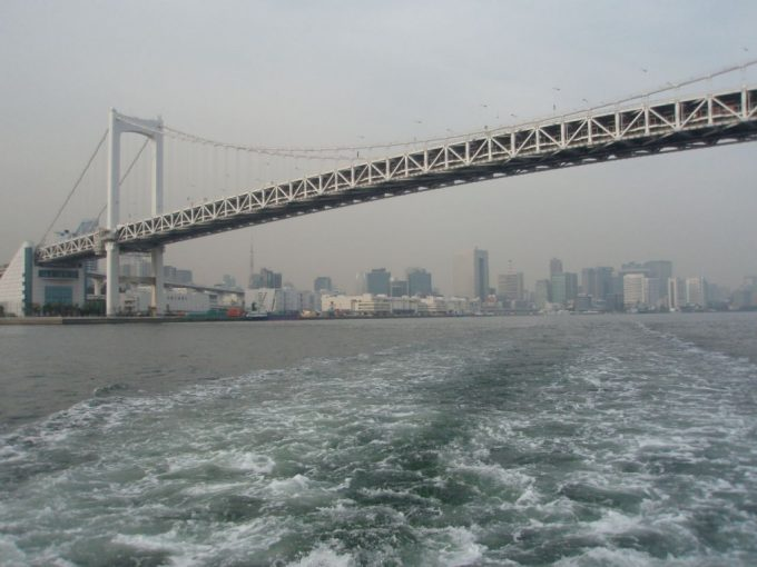 水上バスから眺めるダイナミックなレインボーブリッジ
