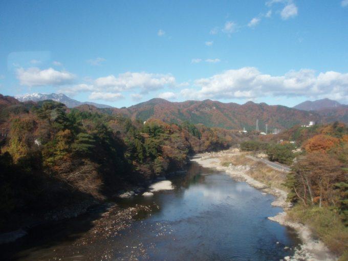 鬼怒川鉄橋からの紅葉する山並み