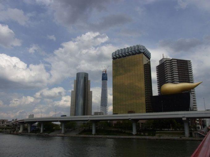 隅田川金のビルと建設中のスカイツリー