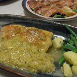 チキンステーキ下仁田ソース・くじらベーコンの和風バルサミコカルパッチョ