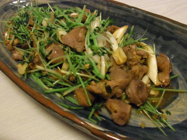 砂肝と豆苗の中華炒め