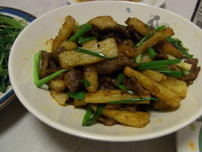 長芋と牛のごまカレー炒め