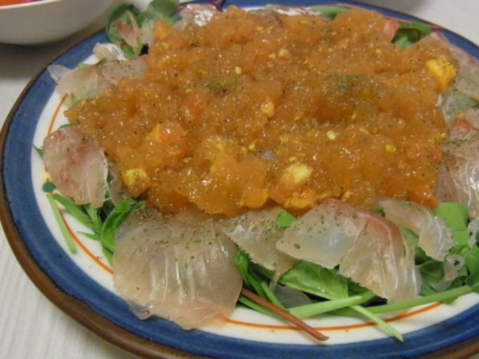 鯛のトマトジュレカルパッチョ