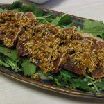 かつおのたたきしびれゴマぽん酢・新生姜と鶏レバの甘辛煮・新ごぼうとツナの味噌炒め煮