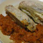 豚となすチーのミルフィーユアラビアータソース・夏色ポテサラ