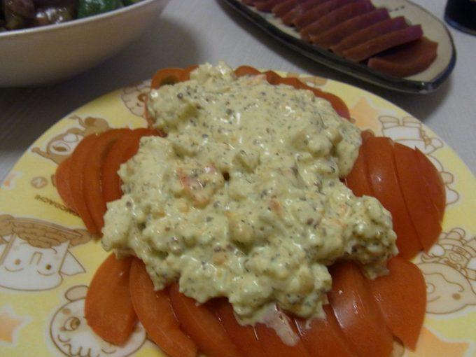 トマトとかにかまのマスタードサラダ