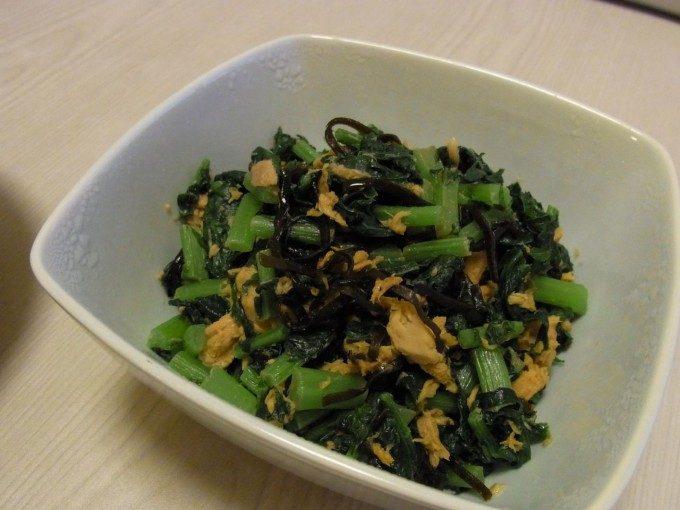 大根葉とツナの塩昆布炒め