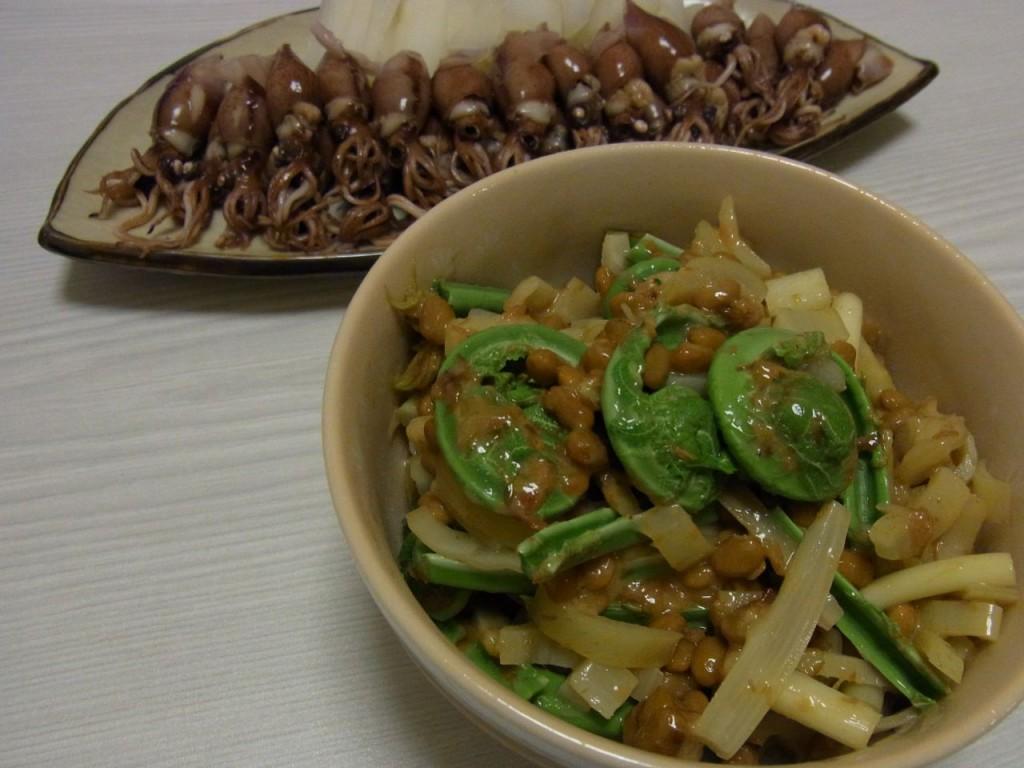 しゃきっと山菜の梅おかか納豆