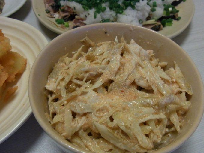 鶏ごぼ明太サラダ