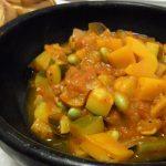 枝豆たっぷり元気ラタトゥイユ・ポークソテー万能ねぎわさびソース・水だこのカラフルカルパッチョ