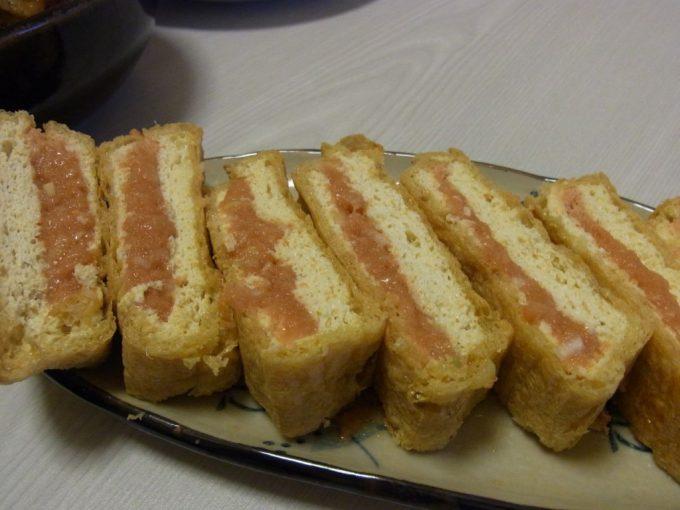 栃尾の油揚げ明太味噌チーズ焼き