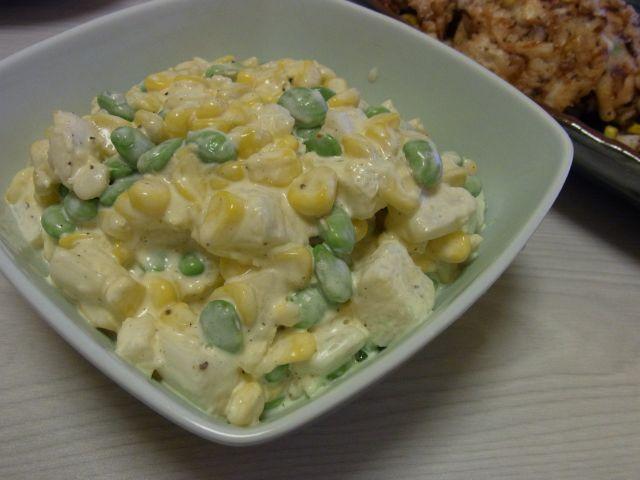 枝豆コーンの長芋サラダ