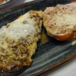 なすのベーコン八丁ケチャチーズ焼き・パプリカのポテサラ詰めチーズ焼き・水だこの塩麹ガーリックオイル漬け