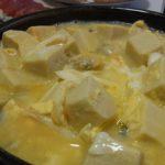 深川めし風高野豆腐の卵とじ・大根葉とベーコンのペペロン炒め