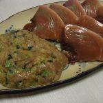 かつおの野沢菜なめろう・漬けかつおとにんにくの芽炒め・かつおと加賀れんこんの山椒角煮・砂肝と納豆のコリシャキ炒め
