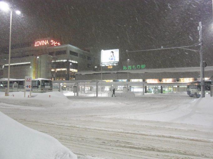 降りしきる雪の中の青森駅