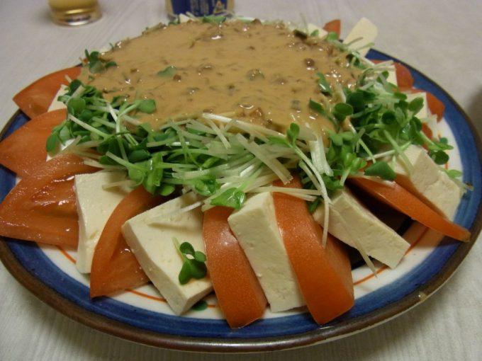 ささみと豆腐のピリゴマサラダ