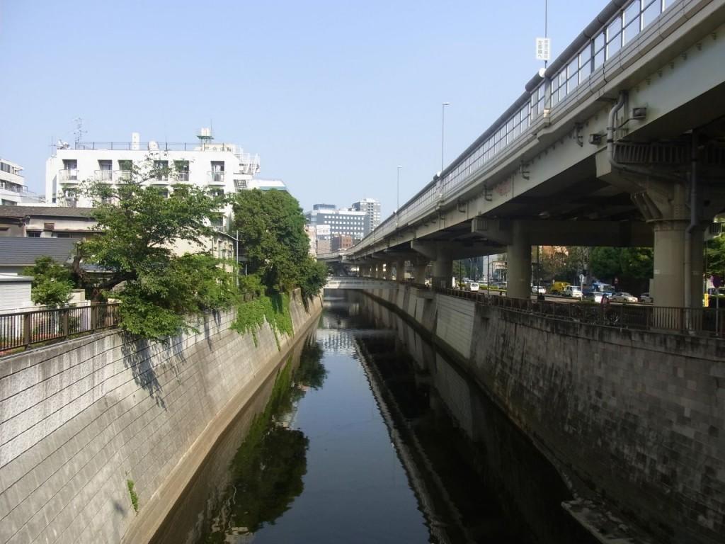高速道路の影になる神田川