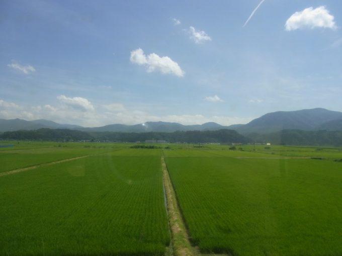 夏の山形見渡す限りの田んぼ