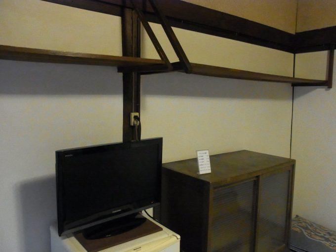大沢温泉自炊部客室に備え付けられた茶箪笥や棚の湯治場らしい風景