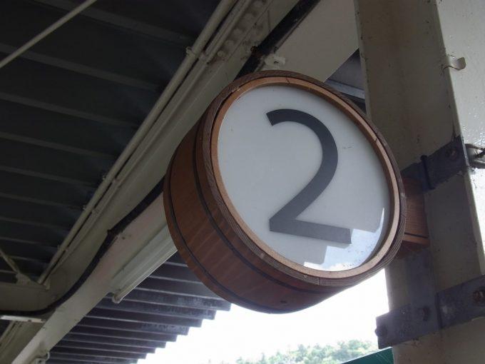 鳴子温泉お風呂の桶をデザインした番線表示