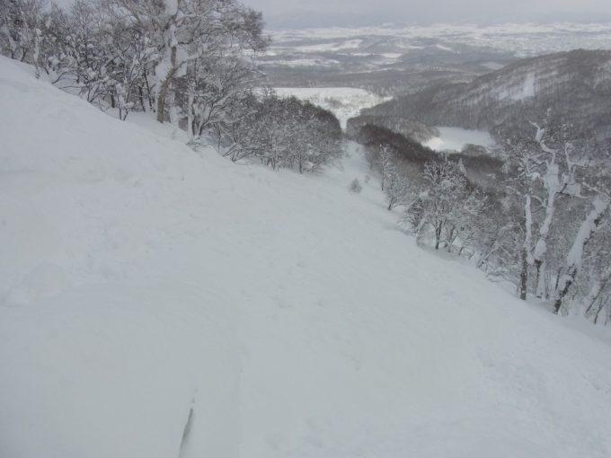 深い新雪のニセココース外