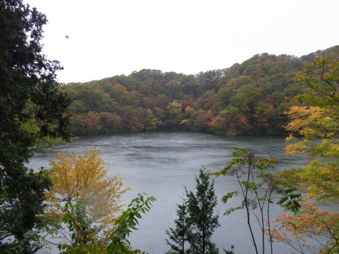 十二湖最大の池紅葉に彩られた王池