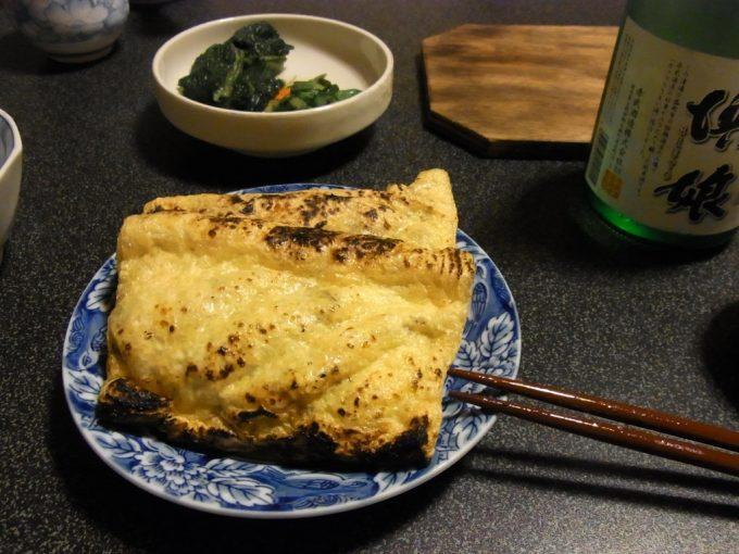 大沢温泉自炊湯治油揚げの花巻納豆詰め焼き