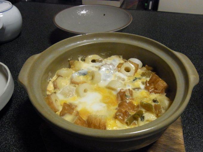 大沢温泉自炊湯治メニューちくわとたっそべ漬けの卵とじ