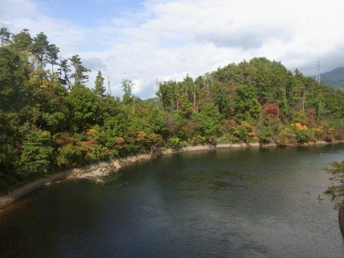 磐越西線車窓川を彩る木々