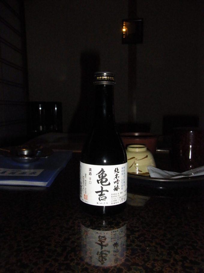 秘湯ランプの宿青荷温泉夜のお供に純米吟醸亀吉