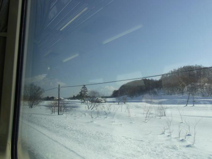 函館本線の車窓から眺める冬の羊蹄山