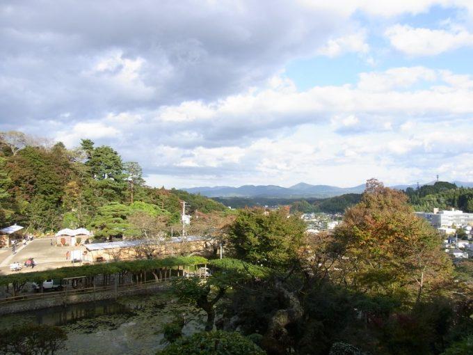 二本松霞ヶ城跡から望む街並みと山並み