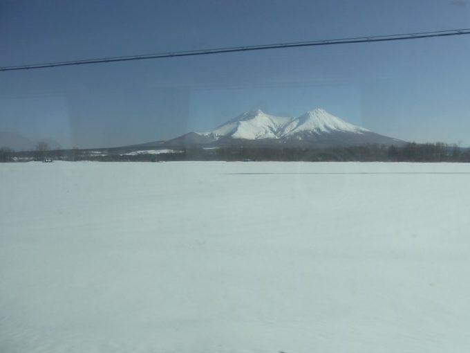 厳冬の函館本線雪原と駒ヶ岳