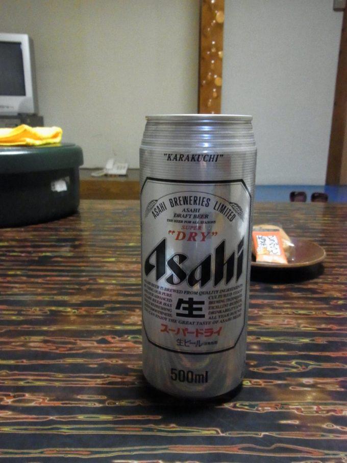 福島岳温泉宝龍荘にごり湯の後は冷たいビール