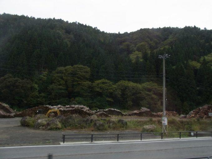 秋田新幹線こまち号車窓から見える杉の貯木場