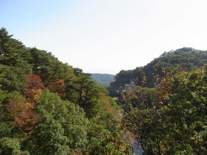 秋の福島岳ダムの紅葉