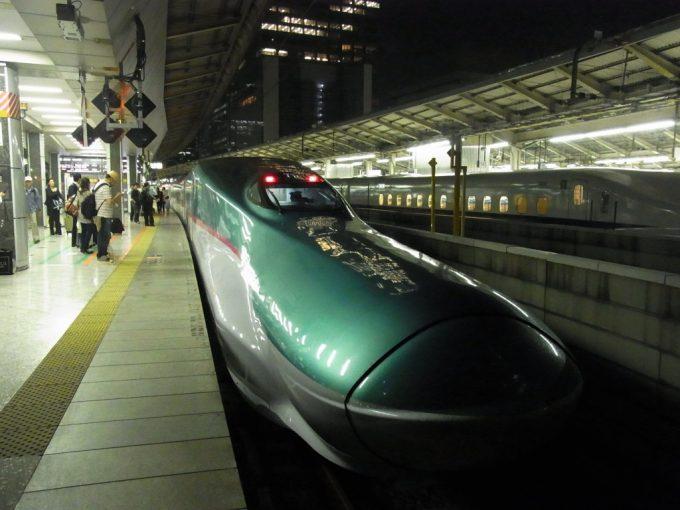 E5系はやぶさ号は夜の東京駅に到着
