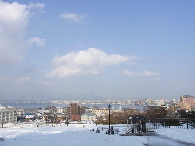 元町公園から望む冬晴れの函館の街並み