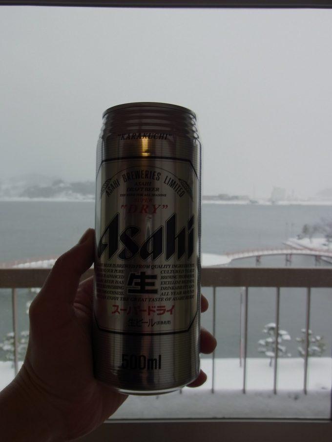 はわい温泉羽衣湯上がりの雪見ビール