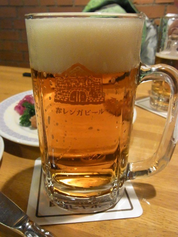 金森倉庫群赤レンガ内函館ビヤホールで赤レンガビール
