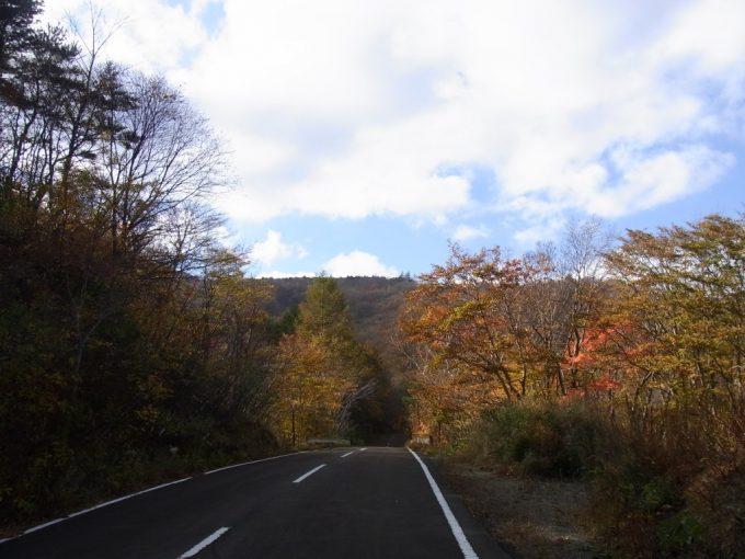 紅葉に包まれた静かな旧道